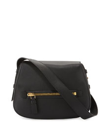 Jennifer Medium Leather Saddle Bag, Black