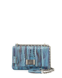 Medium Watercolor Python Shoulder Bag
