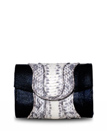 Jolie Lizard & Contrast Snakeskin Clutch Bag
