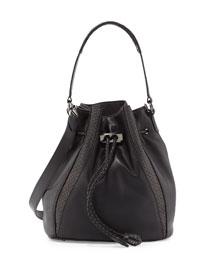 Edam Python-Trimmed Bucket Bag, Black