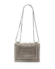 Soleil Mini Crackled Metallic Chain Shoulder Bag, Dark Gray