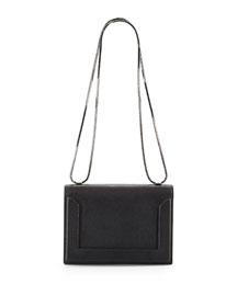 Soleil Mini Pebbled Leather Chain Shoulder Bag, Black