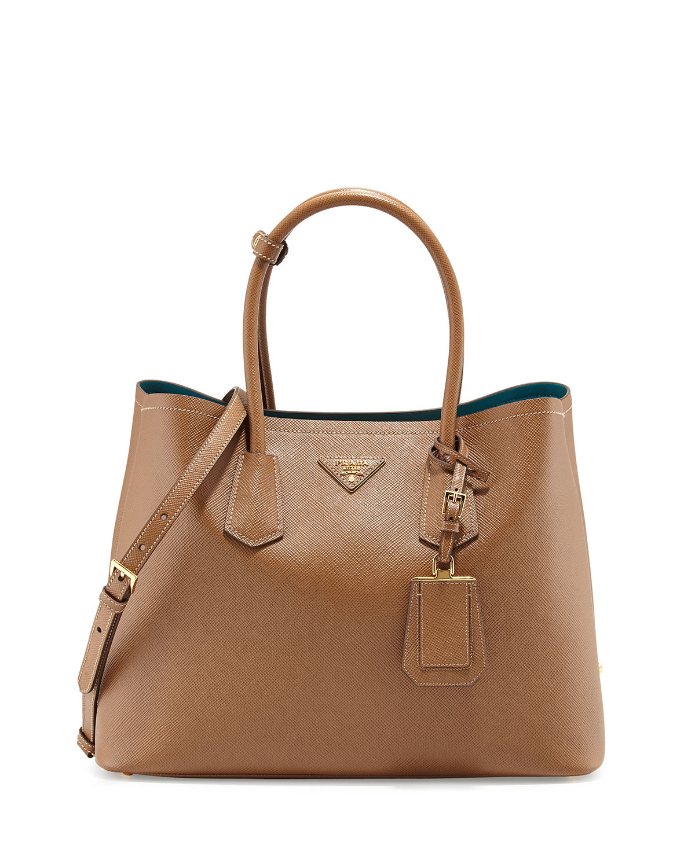 Prada Saffiano Cuir Medium Double Bag, Tan/Teal, Size: M