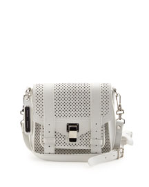 PS1 Perforated Leather Mini Crossbody Bag, Optic White