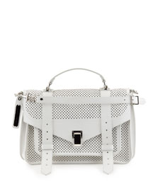 PS1 Medium Perforated Leather Satchel Bag, Optic White