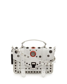 PS1 Tiny Grommeted Leather Satchel Bag, Optic White