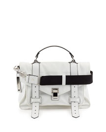 PS1 Medium Nylon Satchel Bag,Optic White