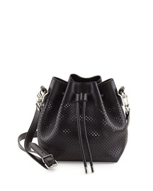 Small Perforated Leather Bucket Bag, Black