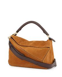 Puzzle Small Suede Shoulder Bag, Tan