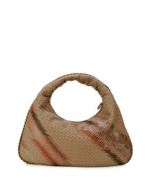 Large Veneta Shadow-Embroidered Snakeskin Hobo Bag, Toffee
