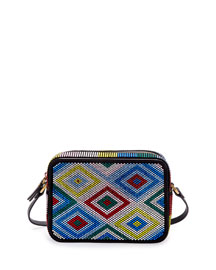 Mini Woven Leather Crossbody Bag, Black