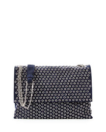 Medium Sugar Eyelet-Studded Shoulder Bag, Dark Blue