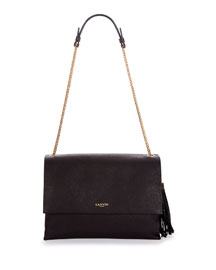 Medium Sugar Calfskin Shoulder Bag, Black