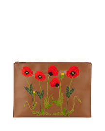 Botanical Embroidered Faux-Leather Pouch Bag, Tan