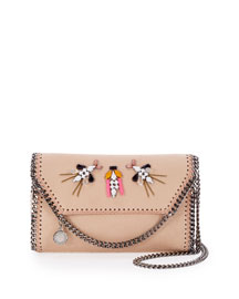 Tiny Embellished Fold-Over Crossbody Bag, Powder