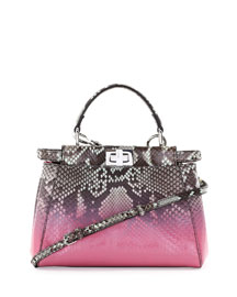 Peekaboo Mini Degrade Python Satchel Bag