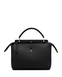 DOTCOM Medium Leather Satchel Bag, Black/Royal Blue