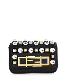 Baguette Mini Studded/Rhinestone Bag, Black Multi