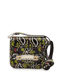 PS11 Tiny Snakeskin Crossbody Bag, Black/Sulfur/Red