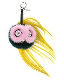 Beak Mohawk Fur Monster Charm for Handbag, Pink/Blue/Yellow
