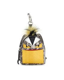 Monster Snakeskin Backpack Charm for Handbag, Natural Multi