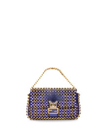 Baguette Micro Monster Crystal Bag, Purple