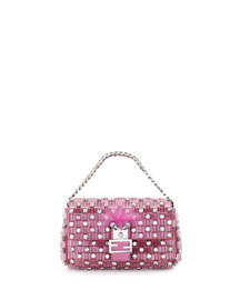 Baguette Micro Monster Crystal Bag, Pink