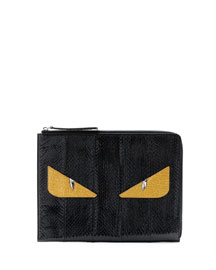 Monster Face Large Snakeskin Clutch Bag, Black