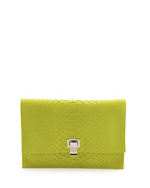 Small Python Lunch Clutch Bag, Sulfur