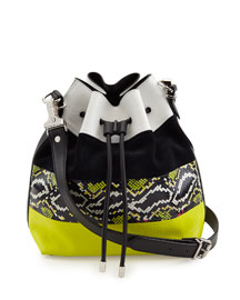 Medium Snakeskin-Striped Leather Bucket Bag, Optic White/Navy