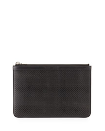 Perforated Leather Medium Zip Pouch Bag, Black