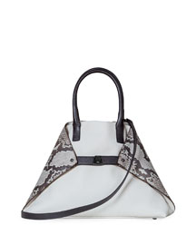 Ai Small Python & Leather Top Handle Bag