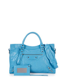 Classic City Lambskin Tote Bag, Royal Blue