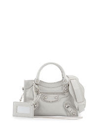 Metallic Edge Classic Mini City Crossbody Bag, Light Gray