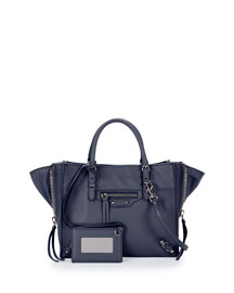 Papier Zip Mini Tote Bag, Navy