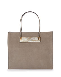 Small Cable Shopper Tote Bag, Gray