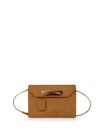 Embossed Nubuck Shoulder Bag, Brown