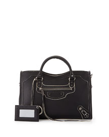 Metallic Edge Classic City Bag, Black/White