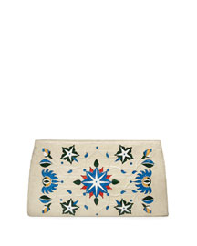 Laser-Cut Taj Mahal Crocodile Clutch Bag, Cream