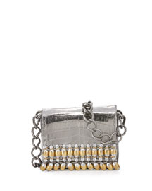 Beaded Chain Crocodile Shoulder Bag, Anthracite/Multi