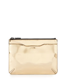 Metallic Leather Zip Clutch Bag, Rose Golde