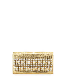 Metallic Bead-Fringe Crocodile Clutch Bag, Gold/Multi