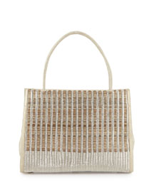 Wallis Woven Crocodile & Horse Hair Tote Bag, Cream Multi