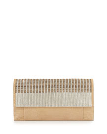 Crocodile & Woven Horse Hair Clutch Bag, Neutral