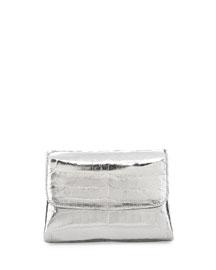 Jellybean Crocodile Crossbody Clutch Bag, Anthracite