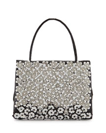 Floral-Embellished Crocodile Tote Bag, Black/White/Gray