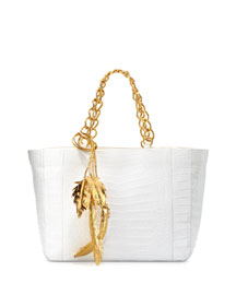 Crocodile Chain Tote w/Metallic Lead Detail