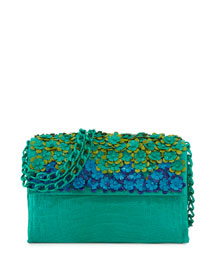 Floral Flap-Top Crocodile Shoulder Bag, Green