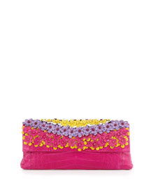 Floral Crocodile Clutch Bag