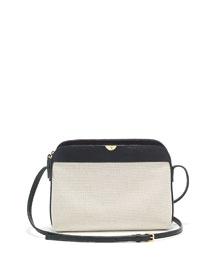 Canvas/Leather Multi Pouch Bag, Natural/Black